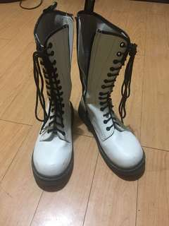 White High Combat Boots