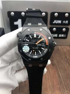 Audemars Piguet Royal Oak Offshore Diver 15707 Real Ceramic Case Black Dial on Black Rubber Strap A3120 V2