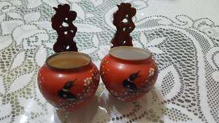 Old bird theme shama bird cups