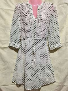 H&M White Chiffon Polka Dot Tunic Dress