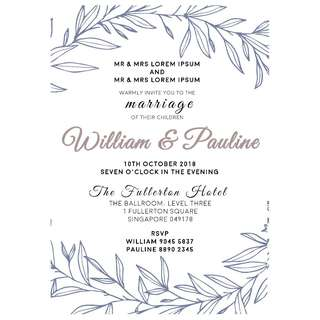 A4 Digital Wedding Invitation + Matching Place Card