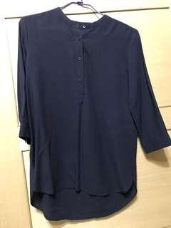 🚚 UNIQLO藍色七分袖襯衫