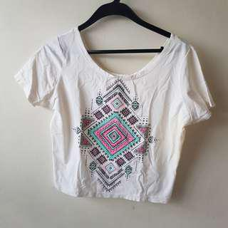 Tribal Design Cropped Top Shirt