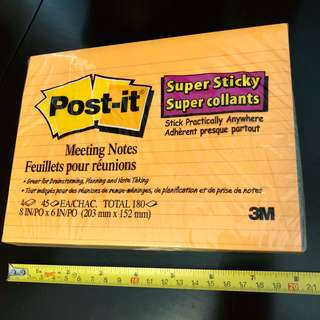 """全新3M Post-it 超大 8""""x6"""" 4色 Meeting Notes Memo 紙~super sticky"""