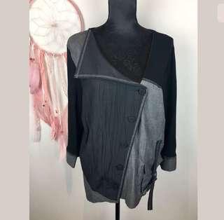 TS Taking Shape sz 16 black grey women blazer jacket coat funky plus boho hippy