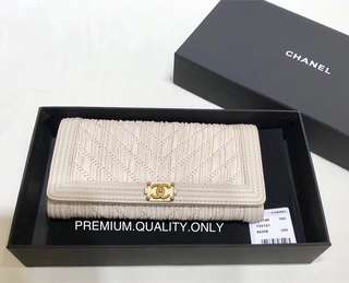 Chanel Chevron Pleated Crumpled boy Wallet