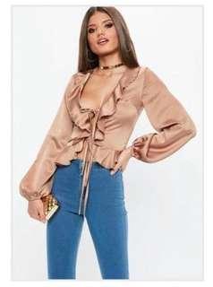 Missguided Mocha ruffle blouse