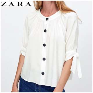 RTP$69.90 NWT Zara Buttoned White Blouse With Bows Size L UK12