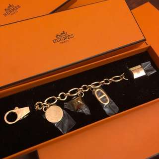 New* Rare Hermes Olga bag charm in gold 豬鼻鏈