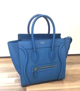 Celine Micro Luggage Bag Teal Blue 笑面袋Size: 26 x 26 x 14 cm Real and New