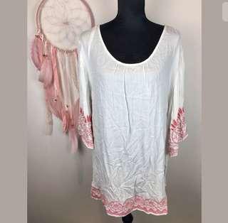 Autograph 18 white pink plus size bell women top shirt blouse tunic boho hippy