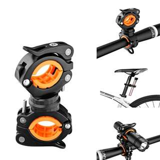 Bicycle Light Bracket Clip Flashlight Stand Rotatable Front Lamp Holder (Black Orange)