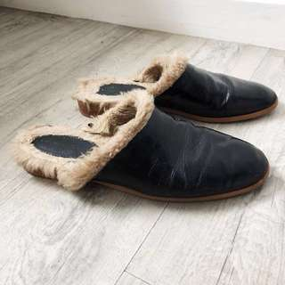 Zara Genuine Leather Slippers Mules Slip On with Faux Fur
