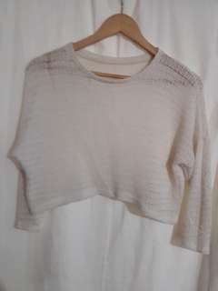 Croptop white knitted pullover