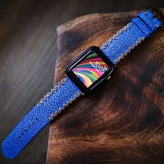 Blue Stingray Beige Tribal Stitching Handmade Strap for Apple Watch 38/42mm, Samsung Gears3 , Nike+
