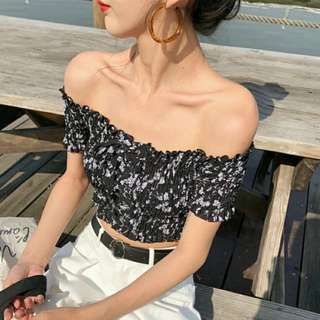 Korea Ulzzang Off Shoulder Crop Top
