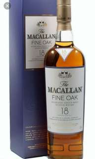 舊版Macallan 18Fine Oak威士忌700ml with box.