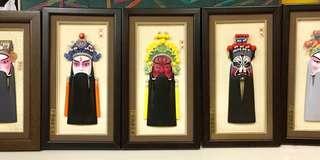 中國戲劇立體面譜格掛畫或座畫一套五款 (諸葛亮丶劉備丶關羽丶張飛及黃忠)