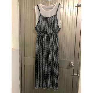 格子長洋裝