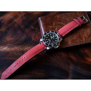 Premium Orange Stingray Handmade Strap For 20mm High End Watches