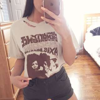 *PRICE DROP* Cropped & Distressed Band Tee