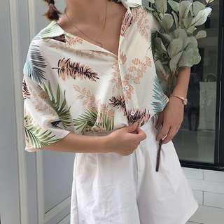 Button up tropical top