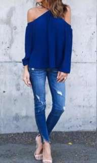 Halter Top Long Sleeve Loose Blouse (Blue)