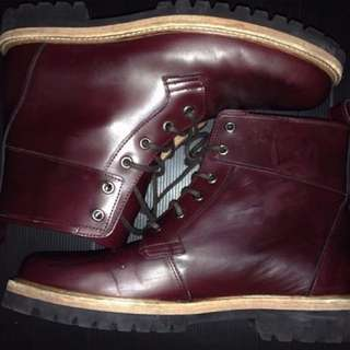H&M burgundy boots genuine leather
