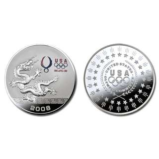 Commemorative USA 2008 Beijing Olympic Silver Medal Coin with box - old stock