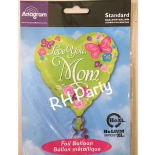 (12/6) Include helium happy birthday love you mom / mummy heart foil balloon
