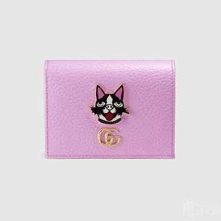 gucci古馳全皮狗頭圖案粉色短款二折錢包