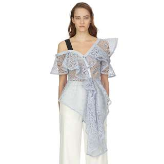 Whimsical Light Blue Lace Top