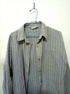 🚚 灰色條紋長板襯衫#畢業兩百元出清