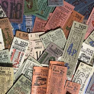 (50pcs) Vintage Bus Tickets Ephemera Set B