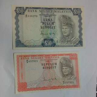Malaysia 2nd Or 3rd series $10 $50 Ringgit Ef Condition