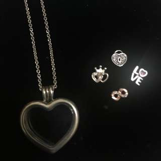Authentic Pandora Heart Locket Necklace with 4 Petite Charms