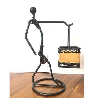 🚚 Metal Tea Light Candle Holder Handcraft Art - Lady