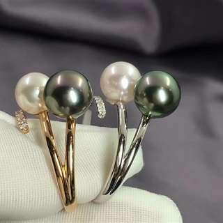 18k鑽石8-9mm大溪地黑珍珠➕Akoya珍珠,特別精緻的一款。
