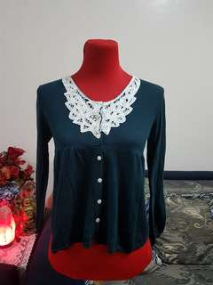 Teal Cardigan with Lace Detail
