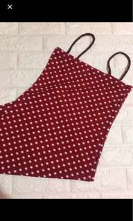 Red polka dots dress straight neck/tube