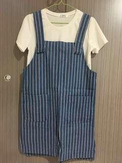🚚 牛仔條紋大口袋連身裙 #畢業兩百元出清