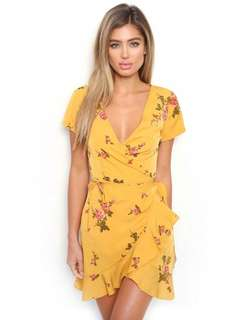 Yellow floral wrap tied dress