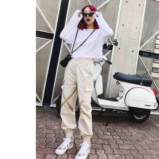 VM 女裝2018新款 休閒 韓版 輕薄透氣 百搭寬鬆長袖防曬短版白色長袖上衣