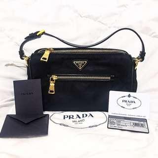 Preloved Prada BN1834 Nero Tessuto + Calf Leather Trimmings Shoulder Bag
