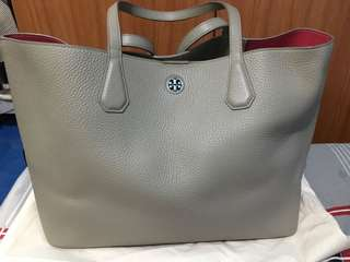 Tory Burch Perry Tote French Gray with Dark Peony Interior