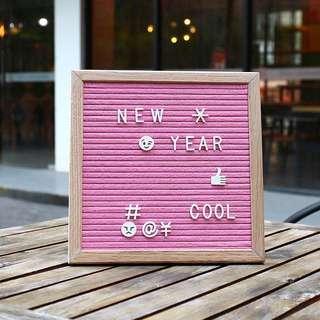 #hariraya35 Felt Letter Board - Pink - 10x10 Oak Frame with Changeable Letters Message Board