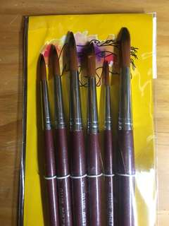 A set of five Marie Paint brushes