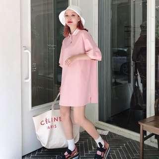 VM 夏2018新款 BF少女學院風 中長款 POLO衫 粉系寬鬆慵懶連身裙