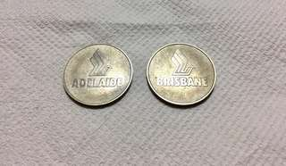 1984 Singapore Airlines Commemorative Coin Adelaide and Brisbane
