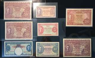 1941 Malaya King George , 1 Cent, 5 Cents, 10 Cents, 20 Cents, 50 Cents & $1, Total 8 Pcs Lot, All Original Paper Condition